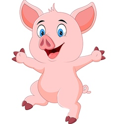 Cartoon funny pig waving hand isolated vector image vector image