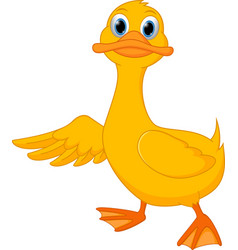 cute duck cartoon presenting vector image