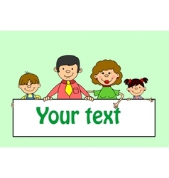 Cute Family Holding Banners vector image