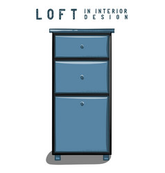 dark blue nightstand loft in interior design eps vector image vector image