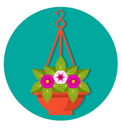 hanging flower basket with petunias vector image