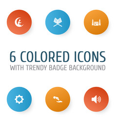 Holiday icons set collection of zakat man with vector