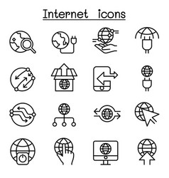 internet connection online network icon set in vector image vector image