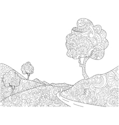 Landscape coloring book for adults vector image vector image