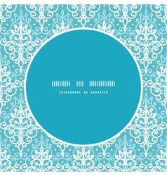 Light blue swirls damask frame seamless vector