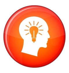 Light bulb inside head icon flat style vector image