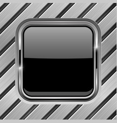 Metal diagonal planks with black glass button vector