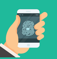 Mobile phone unlocked with fingerprint button - vector