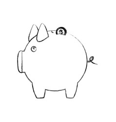 Monochrome sketch of piggy bank vector