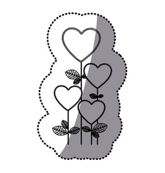 Monochrome sticker silhouette with floral branch vector