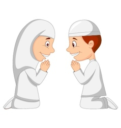 Muslim kid cartoon vector image vector image