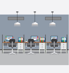 Office interior with three work places vector