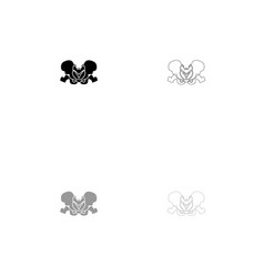 pelvis skeleton black and grey set icon vector image vector image