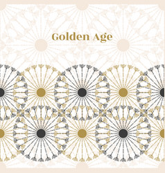 Seamless vintage border black and gold circle vector