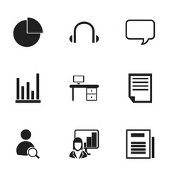 Set of 9 editable bureau icons includes symbols vector