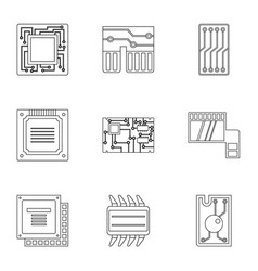 Transistor icons set outline style vector