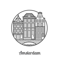 travel amsterdam icon vector image vector image