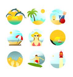 Various summertime travel scenery set vector