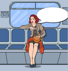 Woman traveling in metro late at work pop art vector