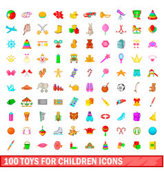 100 toys for children icons set cartoon style vector