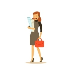 Businesswoman with headset business office vector