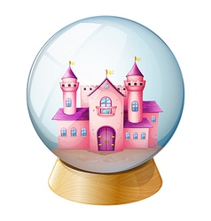 Pink castle crystal ball vector