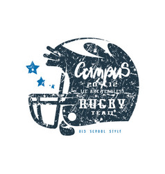 Rugby helmet badge with shabby texture vector