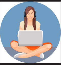 Woman with crossed legs in yoga position sitting vector