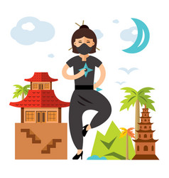 Ninja girl flat style colorful cartoon vector