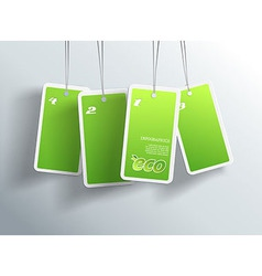 Four hanging green eco cards you can place your vector