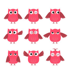 Set of cute pink owls with various emotions vector