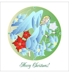 Stained glass windows with christmas angel vector