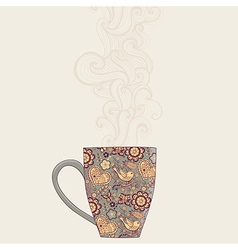 Coffee and tea mug with floral pattern cup vector