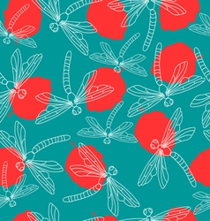 Leaves and dragonflies vector