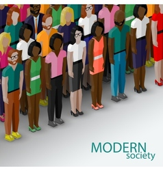 3d isometric of society members with a large group vector