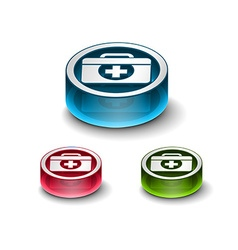 3d glossy medical web icon vector