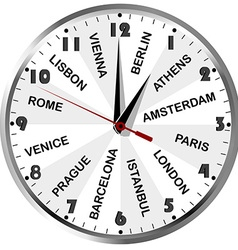 Clock with cities from europe vector