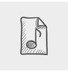 Origami musical note in a paper sketch icon vector