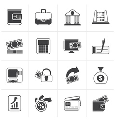 Black bank business and finance icons vector