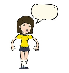 Cartoon woman looking sideways with speech bubble vector