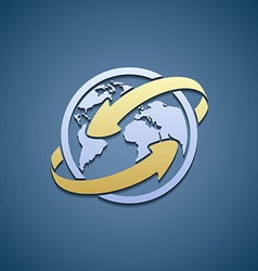 Logo planet earth with arrows vector