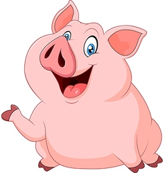 Cute fat pig presenting isolated vector image