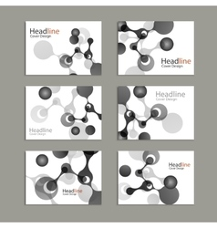 Science cover template background with molecules vector