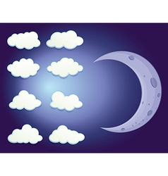 A sky with clouds and a moon vector image vector image