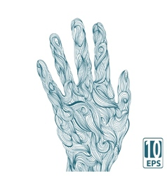 Abstract wave hands with ornament vector image