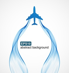 Airplane blue wave smoke background vector