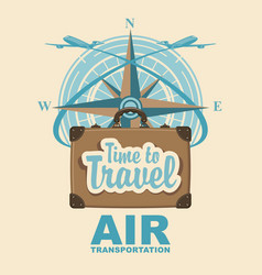 Banner with travel suitcase and compass windrose vector