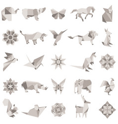 big set of animal origami figures vector image vector image