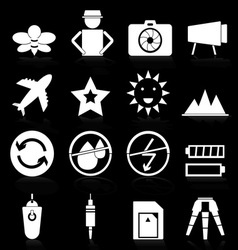 Camera icons with reflect on black background vector