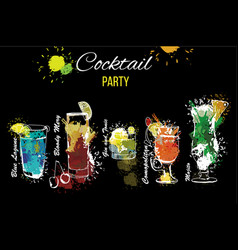 cocktail party set template for vector image vector image